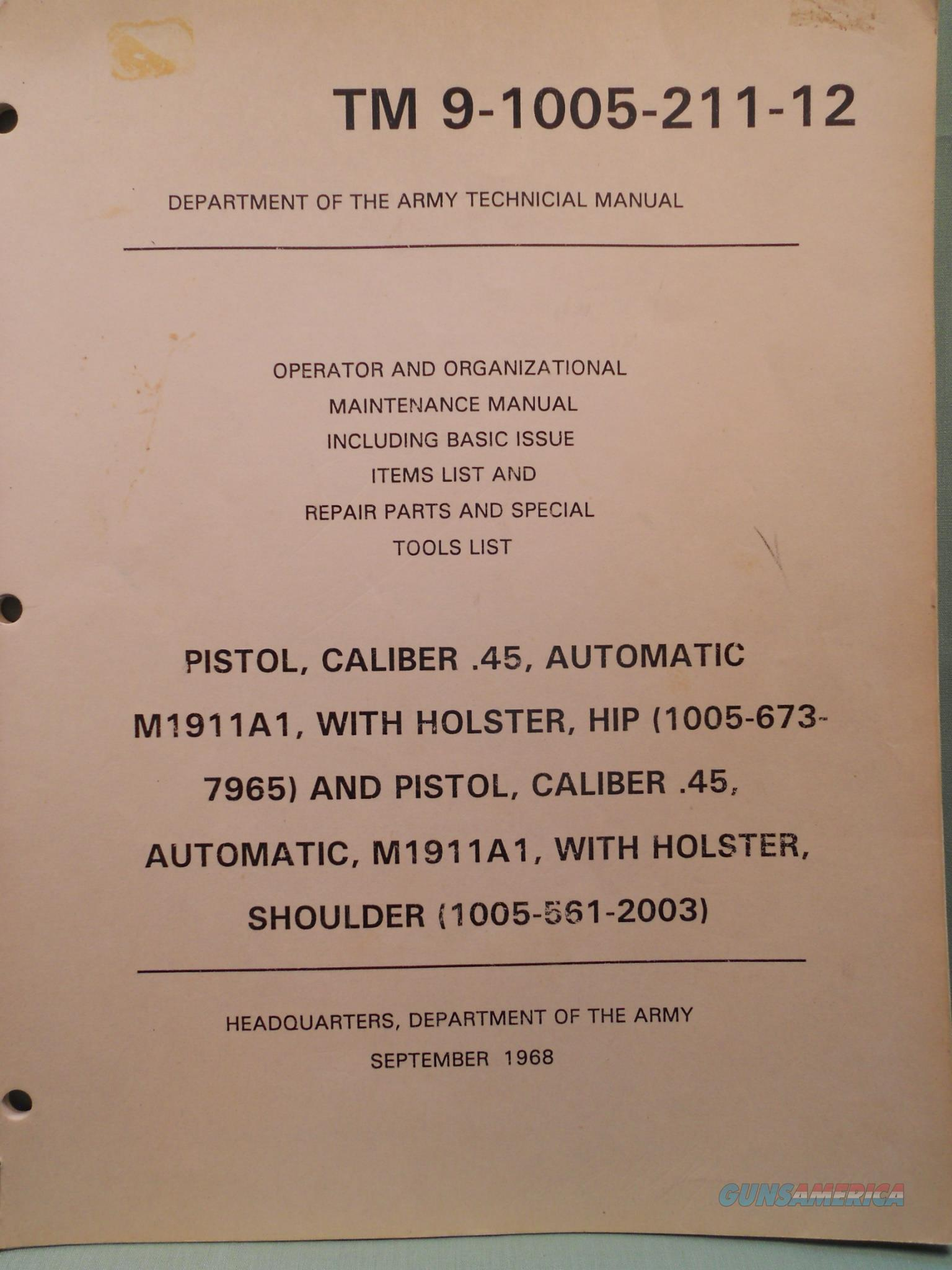 TM 9-1005-211-12 Department Of The Army Technical Manual Pistol,