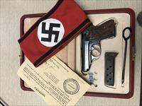 NAZI RARE BROWN WALTHER PPK PISTOL CASED GROUPING WITH PODIUM FLAG