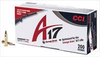 CCI'S NEW A17 VARMINT 17HMR  200RD PK. AMMO FOR THE NEW SAVAGE A17