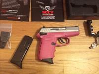 SCCY CPX1  TTPK 9mm semi-auto pistol,ambi-safety,(2) 10+1 round capacity magazines Pink and Stainless New in box