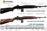 "Citadel M-1 22lr rifle w/synthetic stock 18"" barrel adjustable rear sight and fixed front sight and 2 10 round mags By legacy sports international model:CIR22M1S"