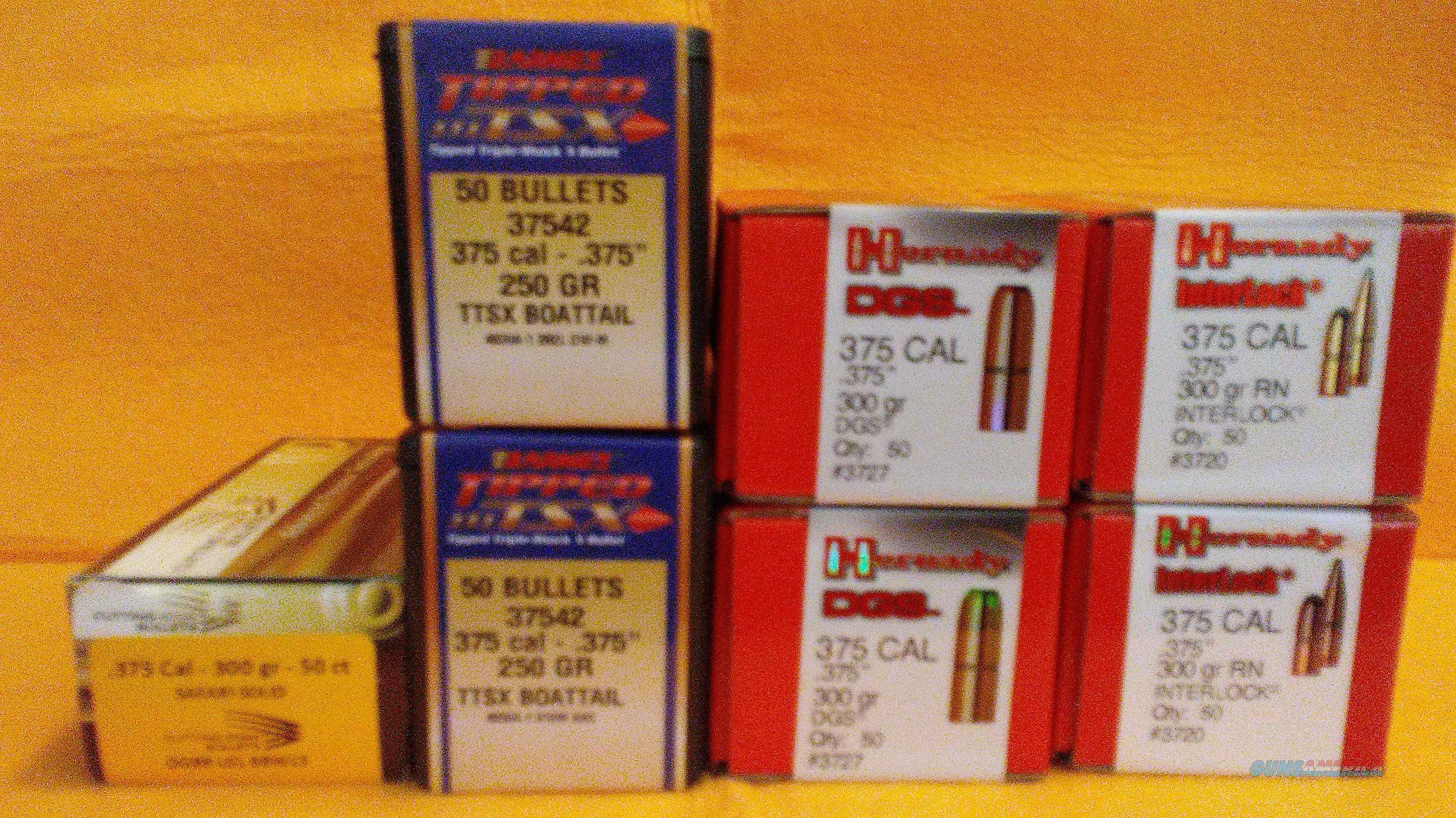 375 Cal  Bullets,Hornaaday, Barnes & Cutting edge