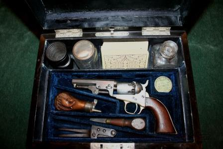 Antique Gambling box with Colt 1849 pocket pistol and dagger