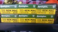 Remington .222 magnum ammo 6 boxes  ( 120 rds ) free  shipping