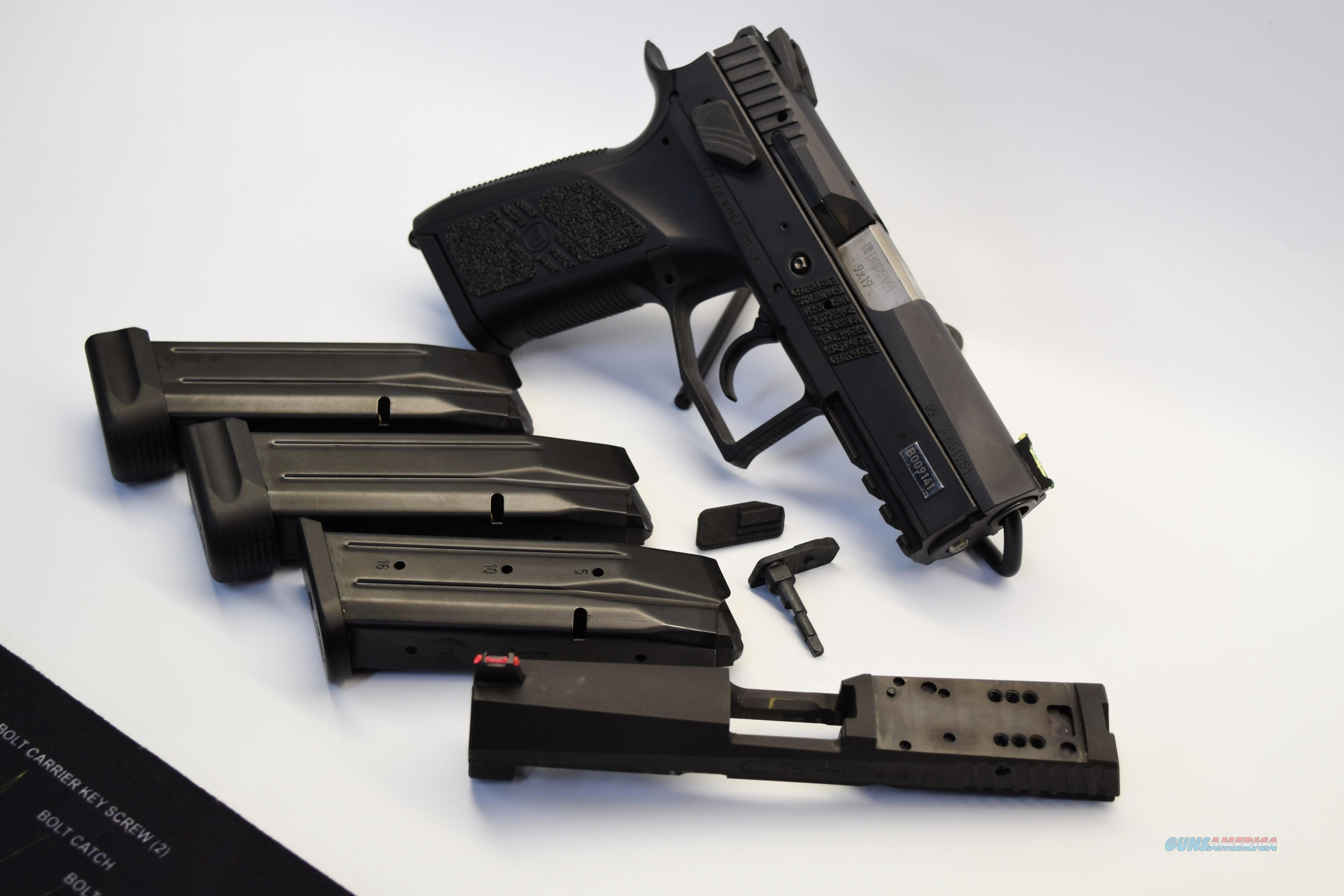 CZ Custom Shop PO7 Duty with optic ready silde and Standard slide with  fiber optic sight, 2 standard mags and 2 plus 2 mags