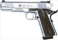 "S&W 1911 .45ACP 5"" 8-SHOT AS STAINLESS CHECKERED WOOD GRIPS 108284"
