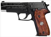 "SIG P226 ENGRAVED .9MM 4.4"" BLACKENED S/S CUSTOM WOOD GRIP E269BSSESM"