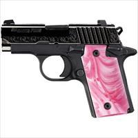 SIG SAUER P238 380ACP ENGRAVED PINK PEARL GRIPS 798681439317