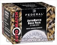 Federal AutoMatch Rimfire Ammunition AM22, 22 Long Rifle Lead 40 GR 1200 fps 3250 Rounds