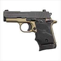 "Sig Sauer P938 Desert Bronze Micro-Compact Semi Auto Pistol 9Mm 3"" 7Rnd Mag Black Hogue Grip State Laws Apply 938-9-DB-AMBI"