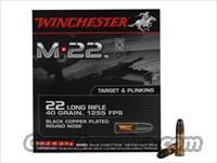 (1,000rd) Winchester M-22 Ammunition 22 Long Rifle 40 Grain Black Plated Lead Round Nose
