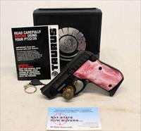 Taurus Model PT-22 semi-automatic pistol ~ TIP OUT BARREL ~ Pink MOP Grips ~ Box & Manual