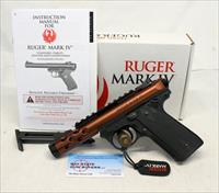 Ruger MKIV LITE 22/45 semi-automatic pistol ~ .22LR ~ Orange Slide BOX & MANUAL