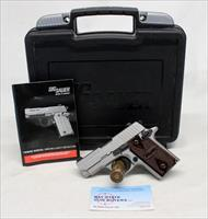 Sig Sauer P238 HD (Hard Nickel) semi-automatic pistol ~ .380 ACP ~ COMPACT ~ Box and Manual