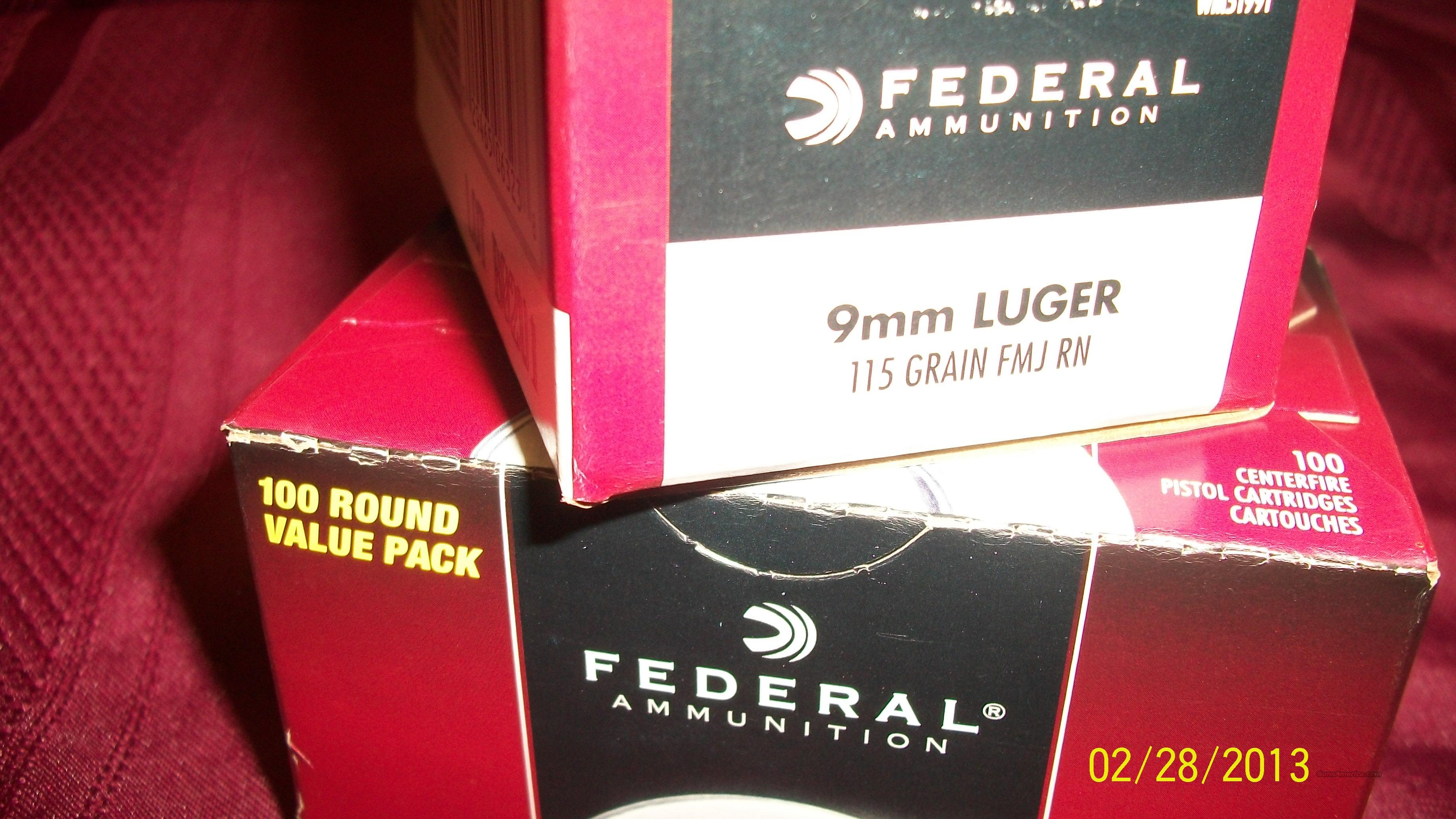 9mm Ammo 9mm Luger Ammo 200 rounds Federal BRASS