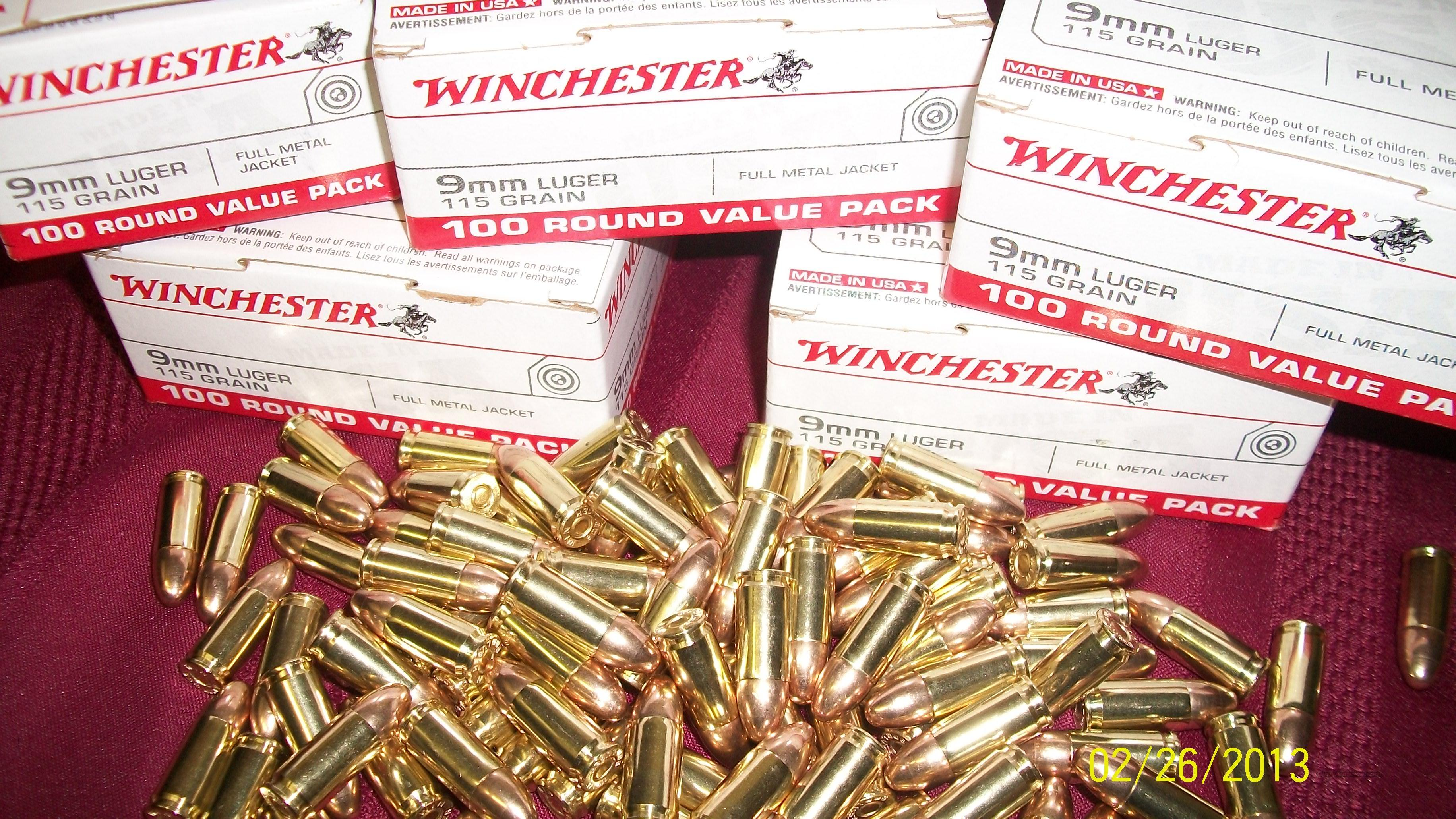 Winchester 9mm Luger Ammo 500 rounds