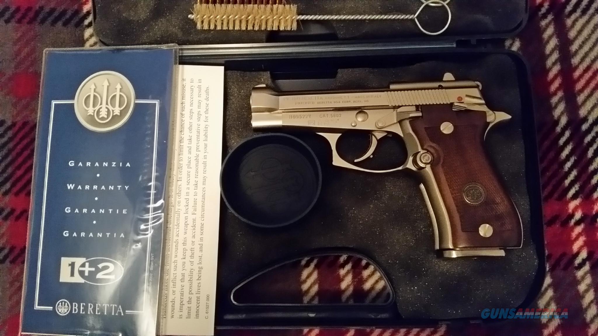 new in box unfired beretta 84fs nickel wood grips 2 13 Rd magazines