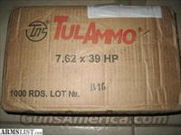Tulammo, 500 rounds,7.62x39,AK47 Ammunition ammo, Ammunition AK 47 7.62x39 124 grain Hollow Point