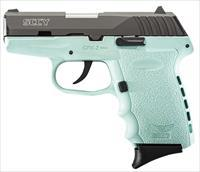 "SCCY Industries CPX2CBSB CPX-2 Double 9mm 3.1"" 10+1 Robin Egg Blue Polymer Grip/Frame Grip Black Nitride Stainless Steel"