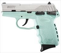 "SCCY Industries CPX1TTSB CPX-1 Double 9mm 3.1"" 10+1 Robin Egg Blue Polymer Grip/Frame Grip Stainless Steel"