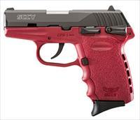 "SCCY Industries CPX1CBCR CPX-1 Double 9mm 3.1"" 10+1 Crimson Polymer Grip/Frame Grip Black Nitride Stainless Steel"