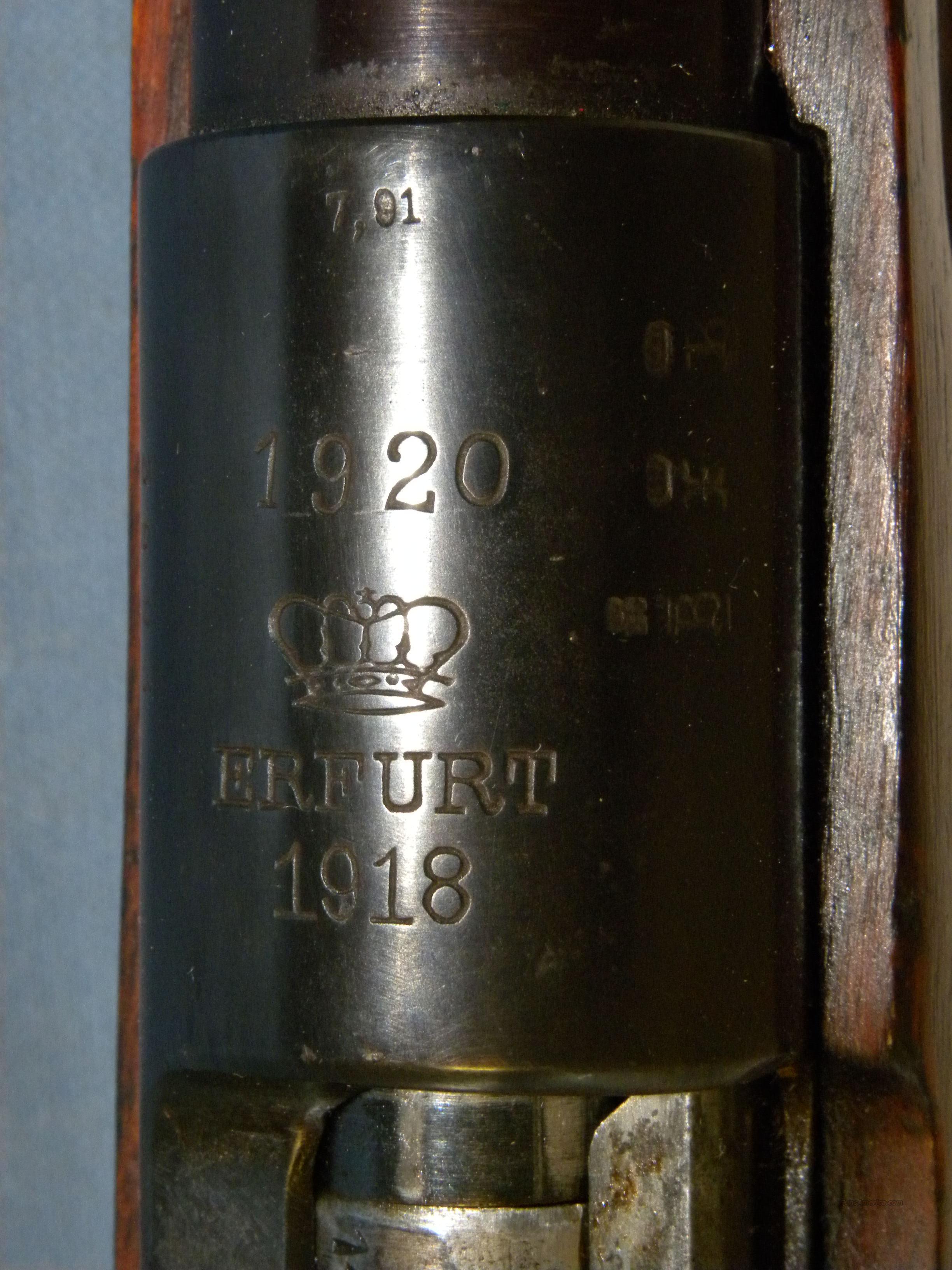 german erfurt k98 mauser 1918 for sale. Black Bedroom Furniture Sets. Home Design Ideas