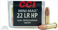 1000 Rds CCI 22lr Rimfire 36 Grain Mini-Mag High Velocity Copper Plated Hollow Point (CPHP) Accurate Varmint Ammunition