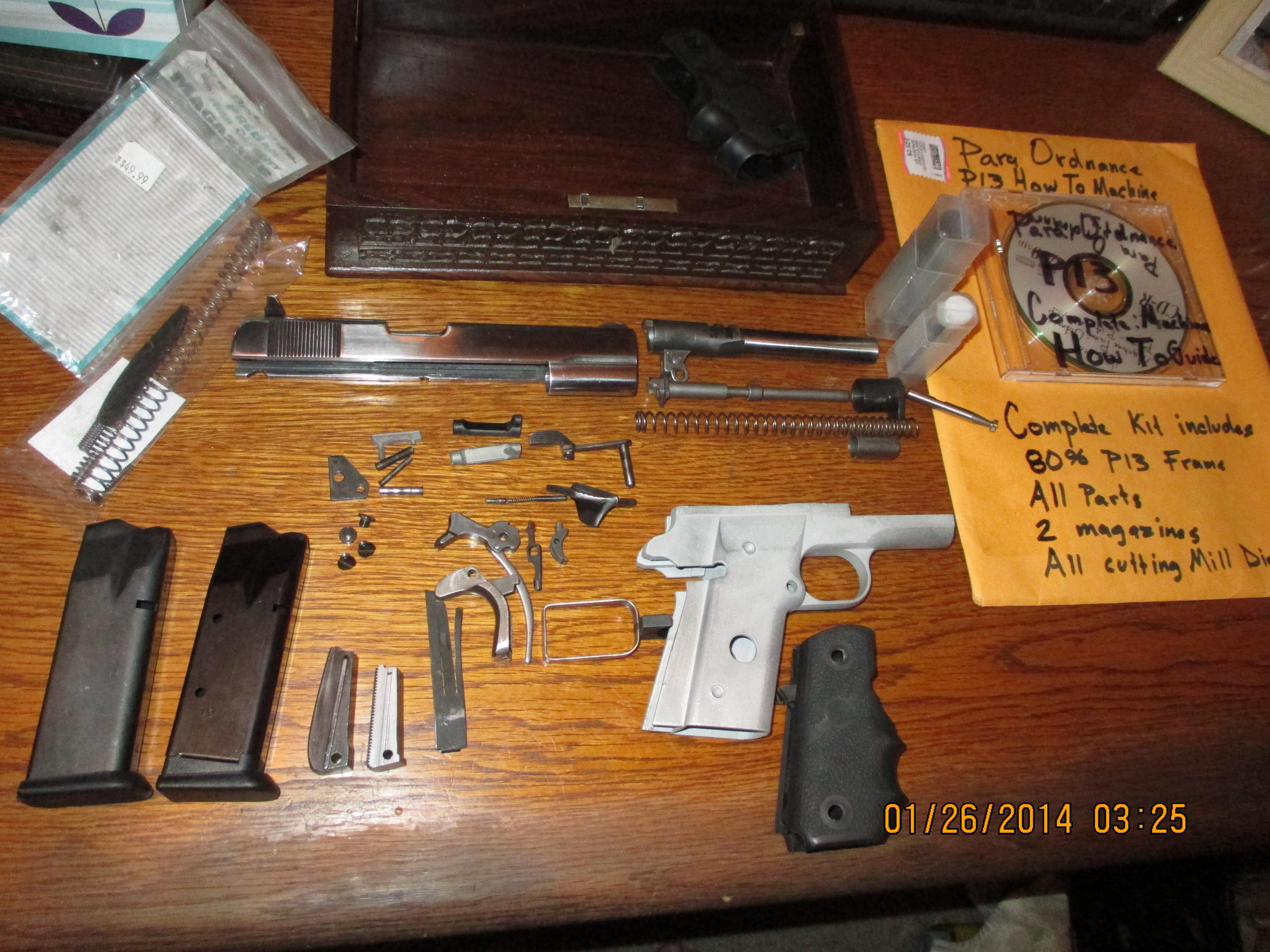 1911  45 acp Para Odnance P13 80% reciever double stack 10rnd mags Kit  complete with mill Dies