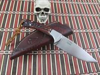 Ted Ott / Ott Knives Custom Handmade Amber Jigged Bone Hunter / EDC