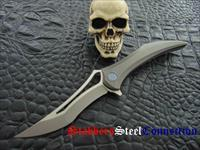 HEAdesigns LAST ONE ! 1 of 99 Made Flame Integral Titanium Frame Lock Flipper Grey