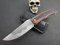 Mozolic Knives  Hand Forged W2 Front Flipper Folder With Custom Leather Sheath