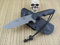 Trace Rinaldi Custom Handmade EDC / Fighter CPM S30V Stainless Steel Blade Paul Bos Heat Treated Bead Blast Finished Blade Very Sharp Original edge Jimping on spine for Secure Thumb Grip Black G10 Handle Hollow Pins Very Comfortable in Hand