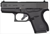 "Glock 43 GNS 9MM P3.39"" 6+1 - Glock Night Sights - New in Case"