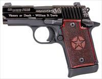 """Sig Sauer 9389TXSAMBI P938 Texas Engraved Silver SAO 9mm Luger 3"""" 6+1 & 7+1 Black Silver Engraving Slide Stainless Steel Frame Redwood Grip Night Sight"""