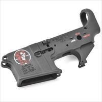 Spikes Tactical AR-15 Forged Stripped Lower Receiver Multi Caliber Zombie Logo Color Filled Aluminum Black