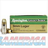 Remington Golden Saber 9mm Luger Brass Jacketed Hollow Point, 124 Grain, 1125 fps, 25 Round Box