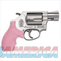 "S&W Model 637 Revolver .38 +P Caliber 17/8"" Barrel 5 Rounds Pink Rubber Grips Matte Silver Finish"