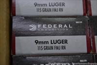 250rds Federal 9mm Luger 115gr FMJ