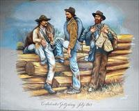 "CONFEDERATES AT GETTYSBURG 1863, ""original artwork"""