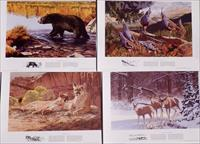 Remington Wildlife Art Collection 1993 set of four wildlife posters