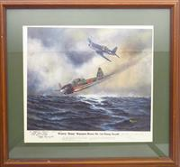 Pappy Boyington prints inscribed to Soldier of Fortune's Robert K. Brown