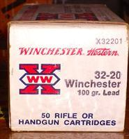 .32-20 ammunition, 1 box Winchester 100 grain led