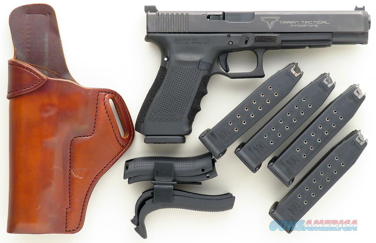 Taran Tactical custom Glock 40 10mm, Gen 4, 6-inch, superb trigger,  stippled, five mags, layaway