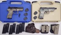 Pair of Sig Sauer P250 Compact digital camo 9mm pistols, custom factory features, many extras