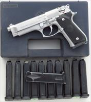 Beretta 92 FS 9mm, stainless steel, 12 15-round magazines, box and papers, 95% condition