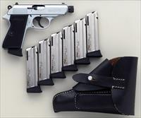 Walther PPK/S .22 LR, threaded, nickel, seven magazines, box, holster, appears unfired