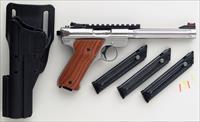 Custom Ruger MK III Hunter .22 LR by Majestic Arms, stainless, fluted, takedown, grips, rail, Hi-Viz, layaway
