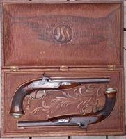 Seyfert ( Seyfert in Gera) set of engraved dueling pistols in carved wood box
