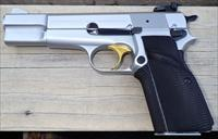 Browning Hi Power 9mm, satin nickel, Belgium, adjustable sight