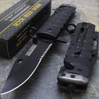 "TAC-FORCE TF-636BGN FOLDING KNIFE Item #: TF-636BGN SPRING ASSISTED 3.75"" 3MM THICK BLADE, STAINLESS STEEL BLACK HALF SERRATED BLADE 4.5"" CLOSED BLACK AND GREEN ROUND ALUMINUM HANDLE INCLUDES POCKET CLIP, SEAT BELT CUTTER AND GLASS BREAKER"